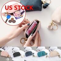 Women Mini Leather Portable  Purse Wallet Clutch Zipper Small Soft Bag Key