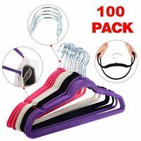 100PCS Non Slip Velvet Clothes Suit/Shirt/Pants Hangers White, Black, Purple,Red