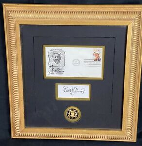VTG Walt Disney Autograph Official First Day Cover Issue Stamp Gold Coin Framed