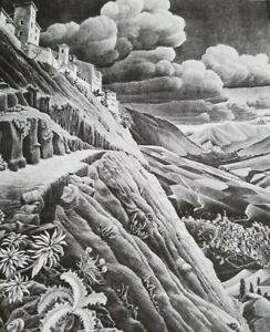 ABRUZZO VILLAGE OF CASTROVALVA (Top of a Slope 1930) by M C Escher Print