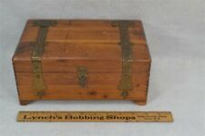"""vintage box sewing jewelry """"hope chest"""" style cedar brass 10x6 mirror 1940"""