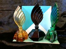Vintage Czech New Old Stock ART DECO set of 3 Coloured  glass perfume bottles
