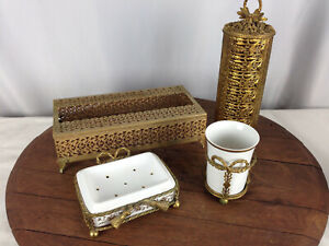 Vintage Bathroom Vanity 4 Piece Set Tissue, Hair Spray, Soap Dish, and Cup #WH-2