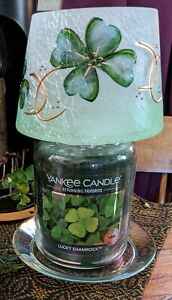 Yankee Candle Frosted Jar Shade J/S FOUR LEAF CLOVER St. Patrick's Day Shamrocks
