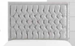 """Alton Bumper Diamante Crushed Top Quality Velvet Bed Headboard with 30"""" Tall"""