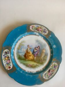 """Antique Sevres Style 19c French Couple Lovers' Quarrel HP 9""""Cabinet Plate"""