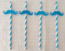 Moustache Mustache Moe Straws 20 Blue Striped Paper Straws Movember Ready to Use