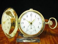 14kt Gold Savonette Taschenuhr Chronograph Minuten Repetition / A. Lugrin