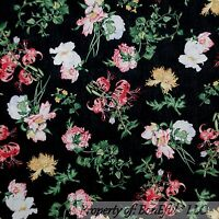 BonEful Fabric FQ Cotton Quilt Black White Yellow Pink Wild Flower Green Leaf US