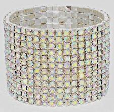 NEW 12 Row Stretch Tennis Bracelet Sparkling AB Swarovski Crystals One Size All