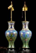 A Pair Rare Chinese Qing Dynasty Cloisonné Vase Lamps.