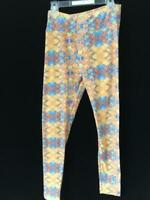 Lularoe leggings One size stretch yellow blue geometric pattern S M L pants