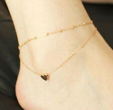 Gold Tone Double Layer Love Heart Ankle Bracelet Jewelry Chain Pendant Anklet