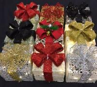Glitter Christmas Parcels Set With Lights Decoration Battery Operated 10 Colours