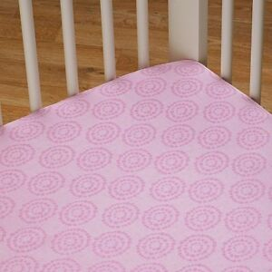 LIVING TEXTILES COT SHEET SET FITTED SHEET BABY GIRL BEDDING - SURINA PINK