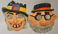 2 Halloween Mask Hard Plastic Vintage Witch Costume Kids 1970's Scary Movies