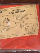 "Vintage ""Scout' Orange Tube Pup Tent Marketon, San Fernando California NOS"