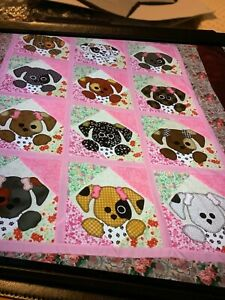 """Quilt Top-Scrappy Puppy-Approx.43""""/54"""""""