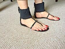 VICINI TAPEET Sandals with Fabric Ankle Cuff - Black - Size 8 (EU 41)