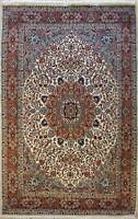 Rugstc 7x10 Senneh Pak Persian Ivory  Rug, Hand-Knotted,Ispahan with Silk/Wool