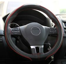Black PVC Leather Steering Wheel Red Stitch Wrap Cover Needle Thread DIY tC xB