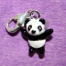 Esmalte Oso Panda encanto con langosta broche, para pulsera o colgante-nuevo