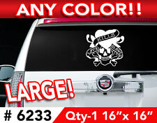 """ED HARDY SKULL  LARGE DECAL STICKER 16""""wx16""""h #6233"""