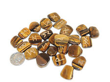 Tiger's Eye Engraved Rune Stone Set, with Symbols Chart and Cloth Bag (eb666)