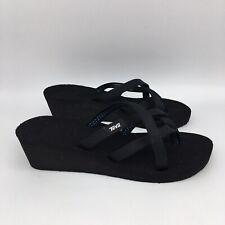 Teva Womens Wedge Thong Sandals US 6 Black Upper Great Tread Toe Loop