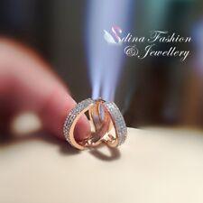 18K Rose Gold Filled Simulated Diamond Studded Stylish Shiny 2.1cm Hoop Earrings