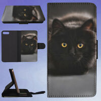 BROWN AND BLACK CAT FLIP WALLET CASE FOR APPLE IPHONE PHONES