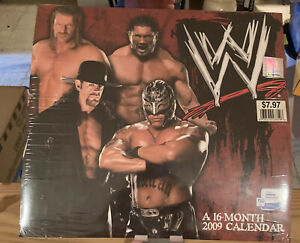 WWE 2009 WRESTLING CALENDAR 16 MONTH UNDERTAKER HHH ON COVER