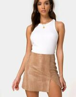 MOTEL ROCKS Wren Mini Skirt in PU Snake Tan XS   (mr46)
