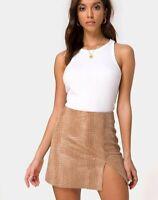 MOTEL ROCKS Wren Mini Skirt in PU Snake Tan   Small S   (mr46)