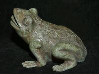 "5.2 ""Antique Chine Bronze Ware Dynasty Palace Toad phoenix Striation Sculpture"