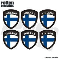 "Finland Flag Shield Decal Sticker 6 Pack 2""x1.6"" Badge Finnish Nordic V2 ZU1"