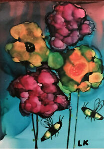 """Small 3x4"""" art PRINT bright flowers floral bumblebees by Lynne Kohler"""