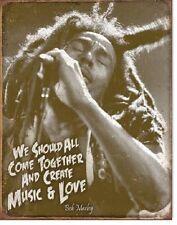 Bob Marley Music & Love quote Tn Sign metal poster vtg bar decor wall art 2118