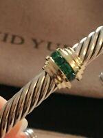 David Yurman Cable Classic Single Station Bracelet Emeralds  & 14k Gold