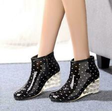 Womens Korean Sweet Wedge Heel Ankle Rain Boots Polka Dot Water Shoes Fashion sz