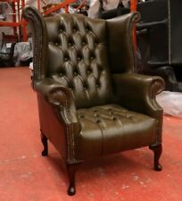 CHESTERFIELD QUEEN ANNE HIGH BACK WING CHAIR VINTAGE DARK GREEN LEATHER