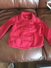 Girls *Lands End* Spring/lightweight Red Pea Coat Jacket - Size Small (4)