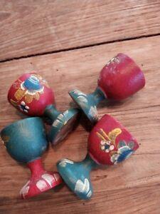 4 Stück Holz Eierbecher bemalt petrol + rot