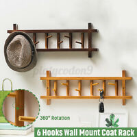 6 Hooks Wall Mount Coat Hat Rack 360° Wood Rail Sturdy Clothes Hanger Organizer