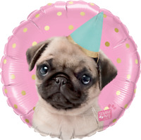 "STUDIO PETS-PARTY PUG FOIL BALLOON 18"" QUALATEX FOIL BALLOON"