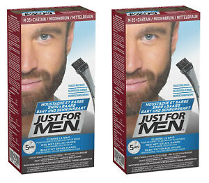 2x Just for Men Brush In Color Gel, Bartfarbe, Bartfärbemittel mittelbraun (M45)