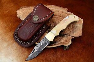 MH KNIVES RARE CUSTOM DAMASCUS STEEL FOLDING/POCKET KNIFE BACK LINER LOCK MH-12I
