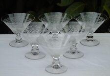 Vallerysthal - Service de 6 coupes à champagne en verre cristallin gravé.