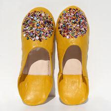 Oriental Zapatos piel MARRUECOS Cuero natural Zapatilla mosona _ AMARILLO