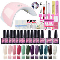Starter Nail Polish Set 36W UV LED Dryer 12pc Gel Nail UV Gel Tools Nail Art Kit